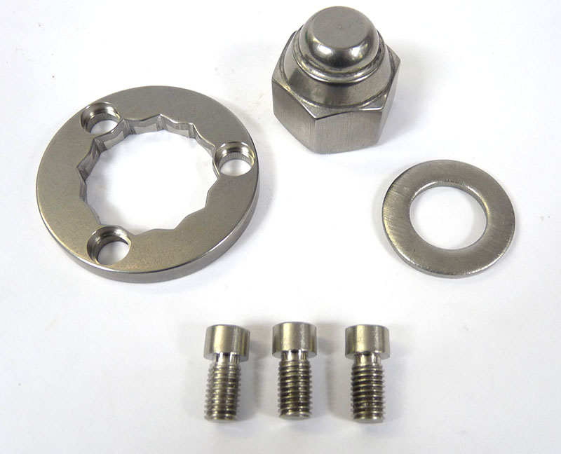 Lambretta Rear hub nut set (kit) thick 3 hole type with 3 x 7mm allen screws, MB